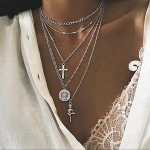 Silver Multi Layer Pendant Necklace